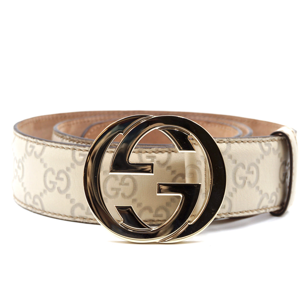 Gucci White Cream Gold GG Leather Belt Size 90/36
