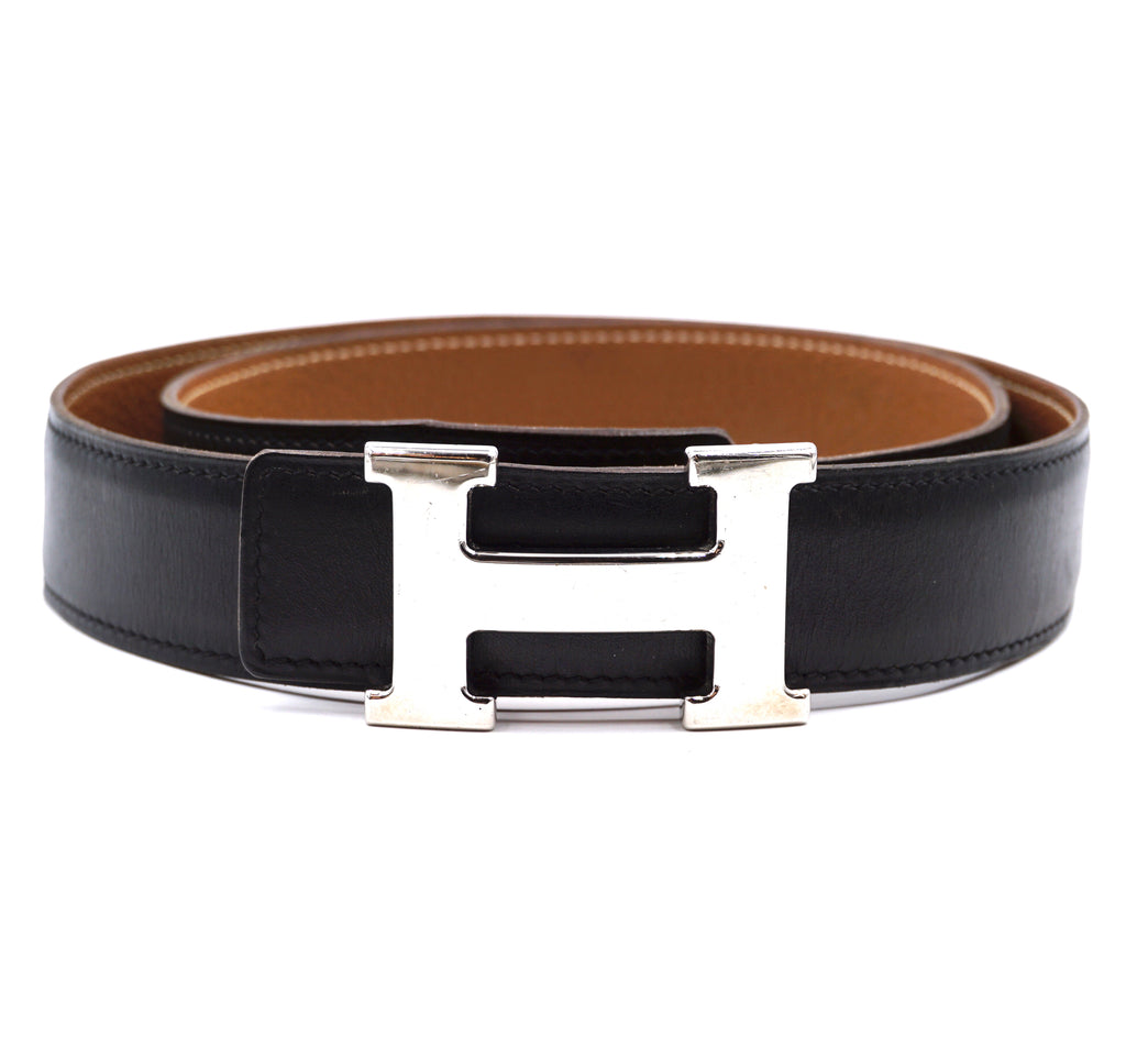 Hermès 32mm Silver H Reversible Leather Size 85 Belt