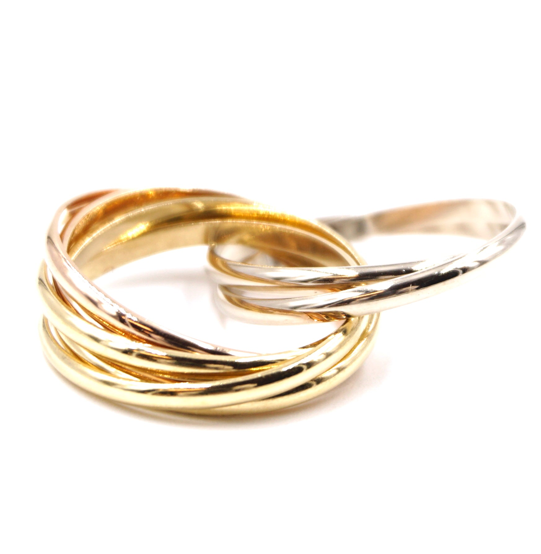 Cartier Tricolor 18k 7 Band Size 51 Trinity Ring