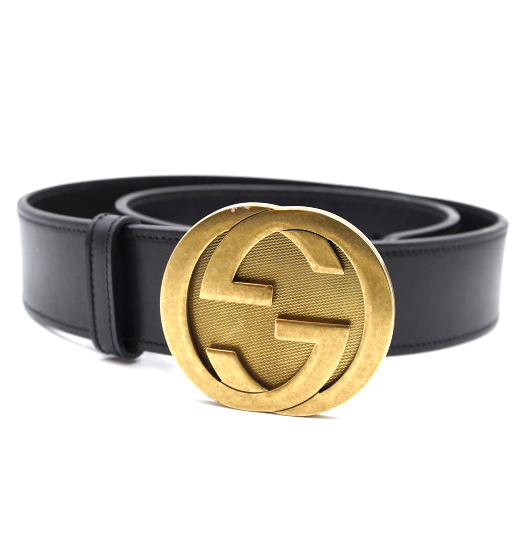 Gucci Black Gold GG Interlocking Leather Belt Size 80/32