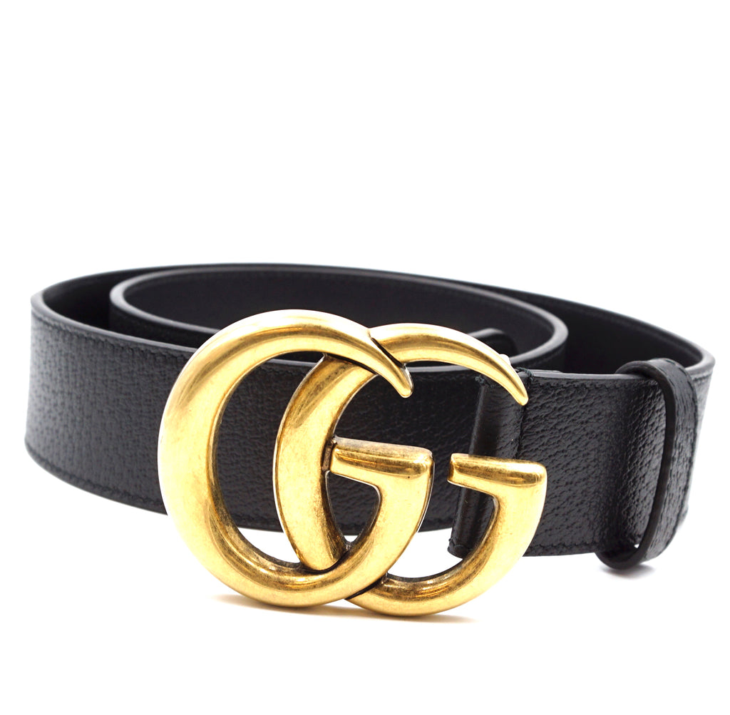 Gucci Black Marmont GG Gold Buckle Leather Belt Size 85/34