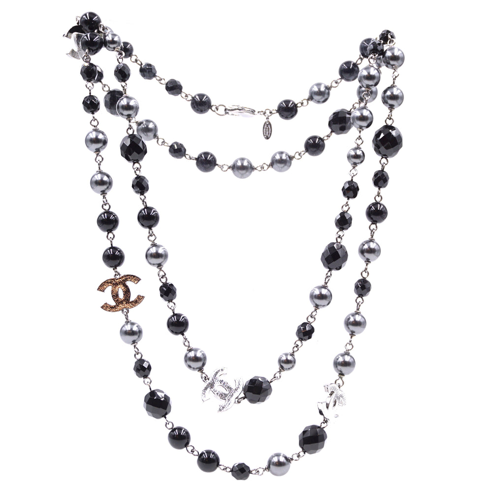 Chanel Black Grey CC Bead Pearl Double Single Necklace