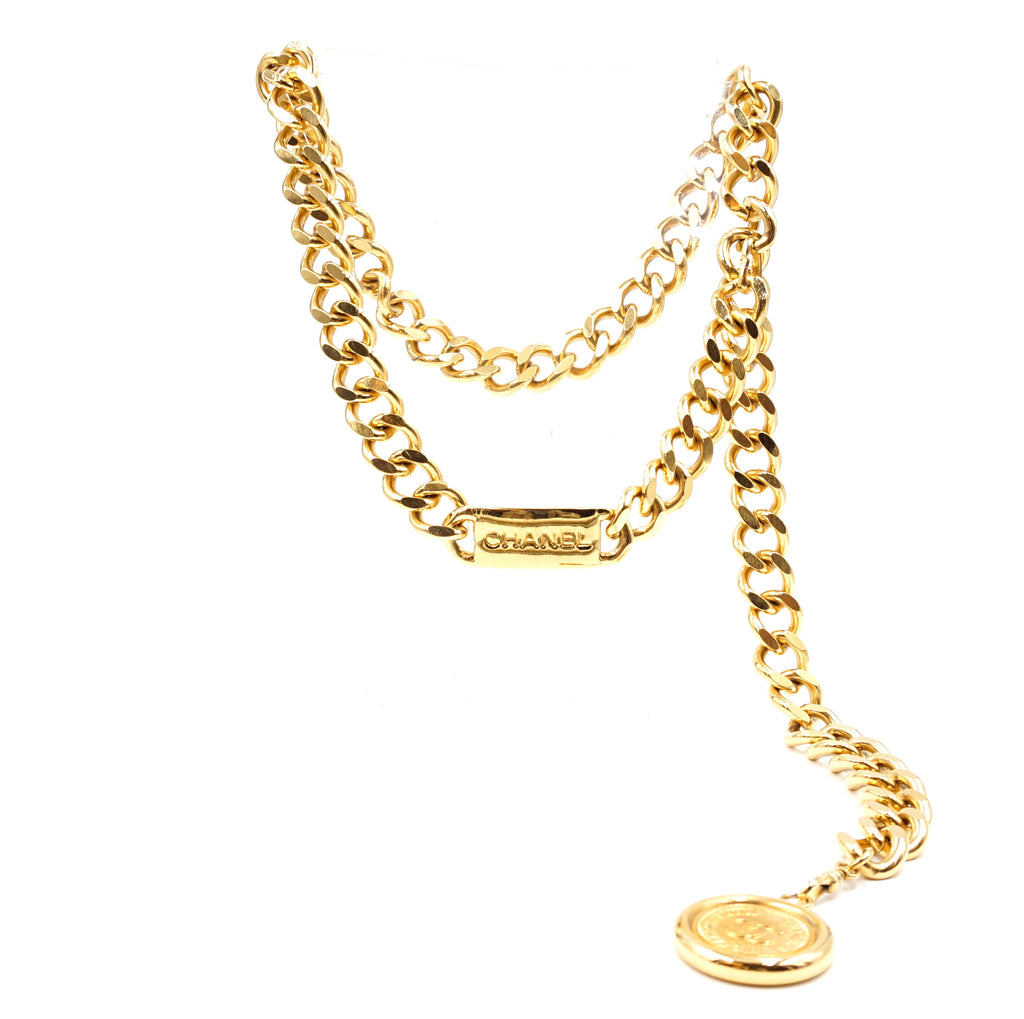 Chanel CC Medallion Charm Two Way Chain Belt Necklace