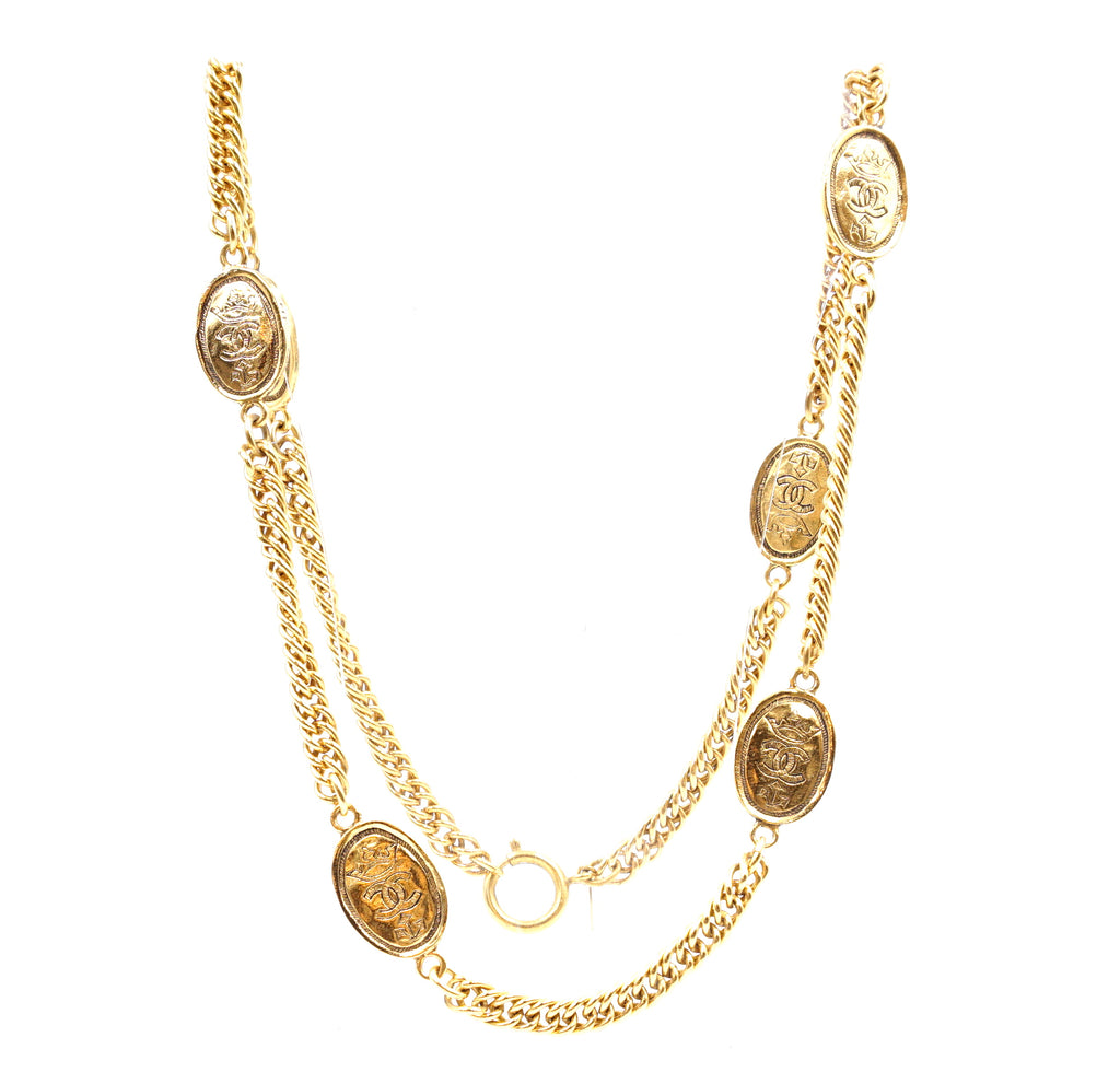 Chanel Gold 6 Motifs Crown CC Charms Necklace