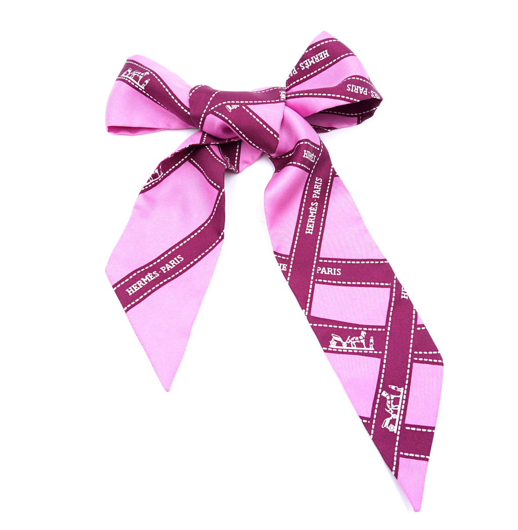 Hermès Pink Purple Twilly Buldoc Logo Ribbon Silk Scarf/Wrap