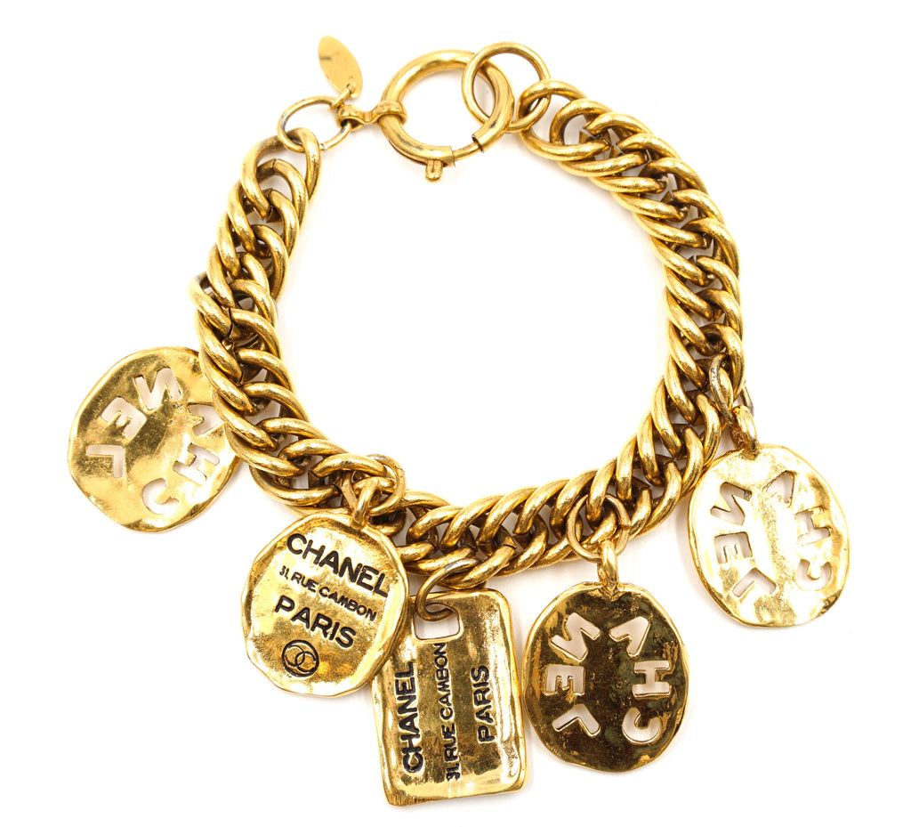 Chanel Gold CC Charms Cutout Bracelet