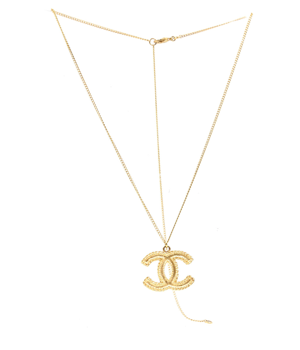 Chanel CC Textured Chain Choker Necklace