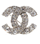 Chanel Silver Crystals CC Textured Hardware Brooch