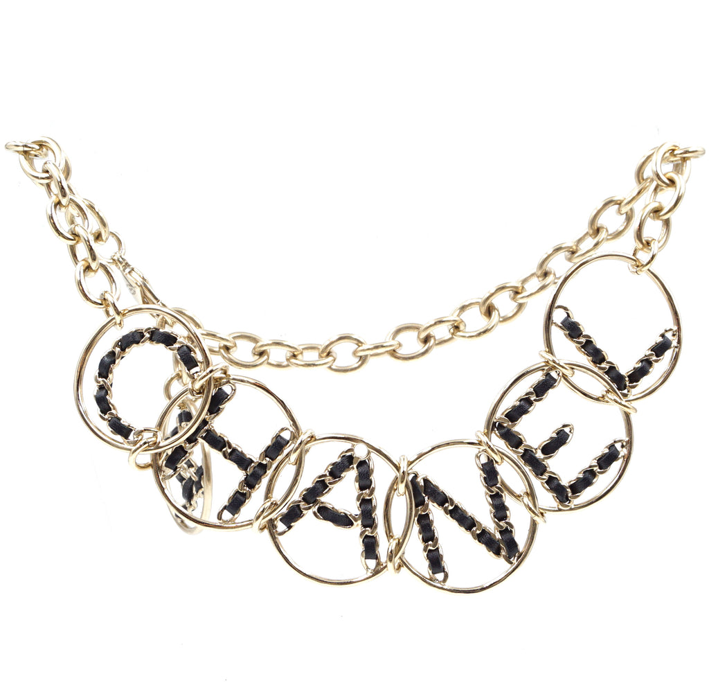 Chanel Gold-black CC Leather Spelled Out Choker