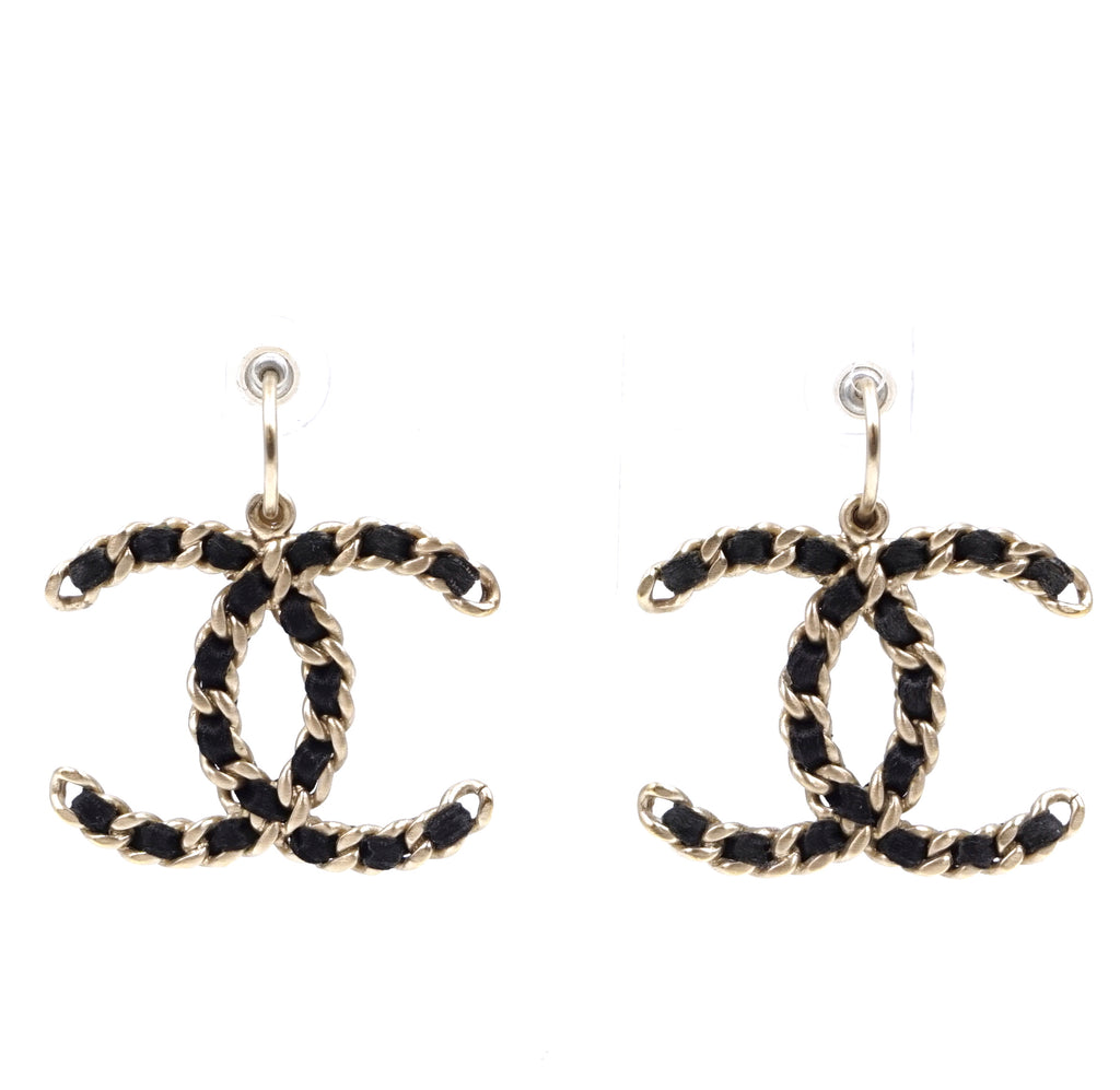 Chanel Gold Black CC XXL Leather Through Chain Earrings