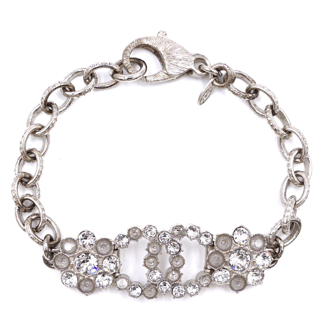 Chanel Silver Crystals CC Cloudy Bracelet