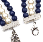 Chanel Blue Cream Silver CC Beads Pearls Necklace