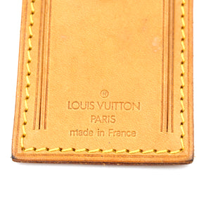 Louis Vuitton Monogram Logo Natural Leather Luggage Loop and Tag Set
