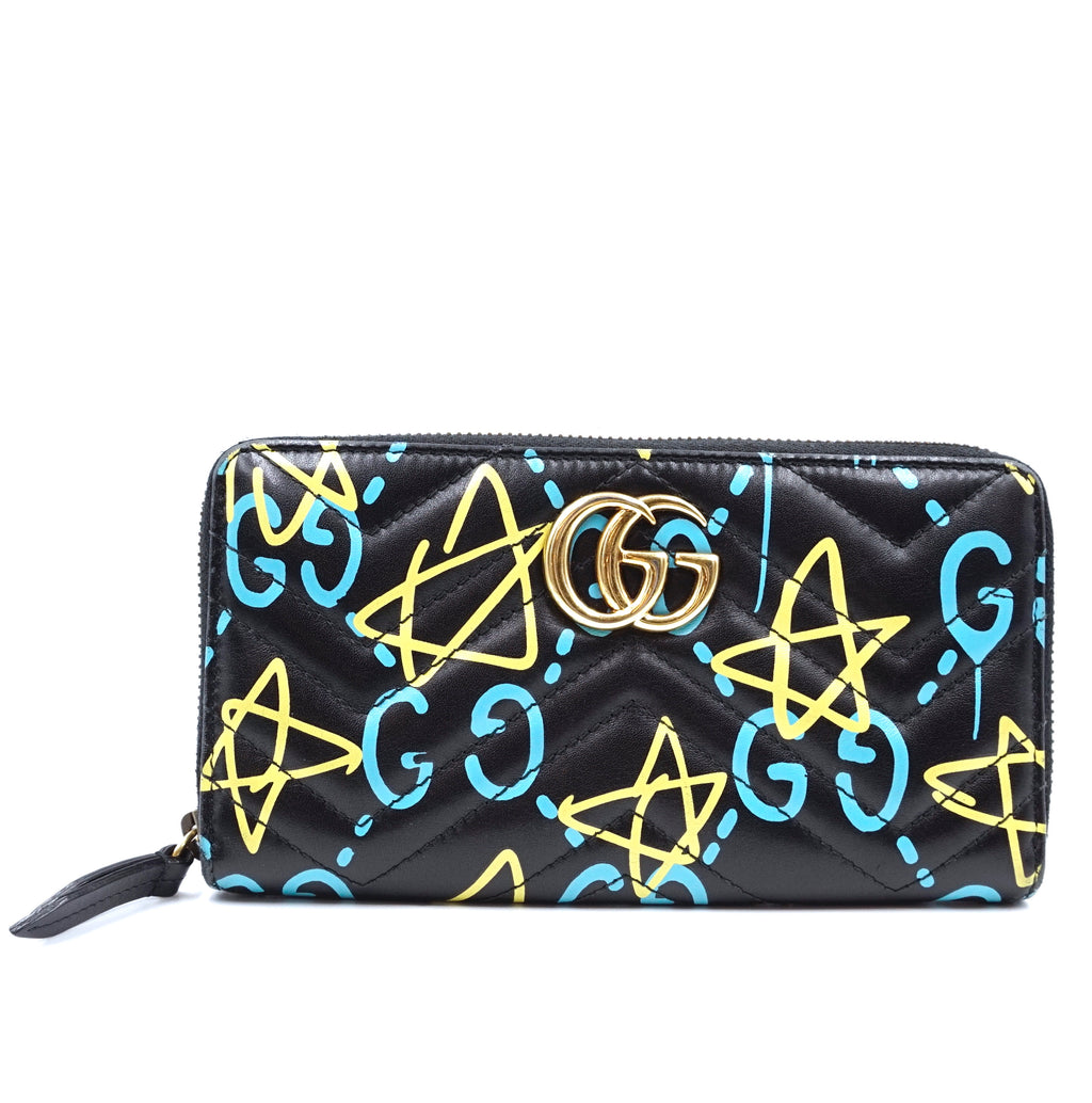 Gucci Multicolor Ghost GG Zippy Around Long Wallet