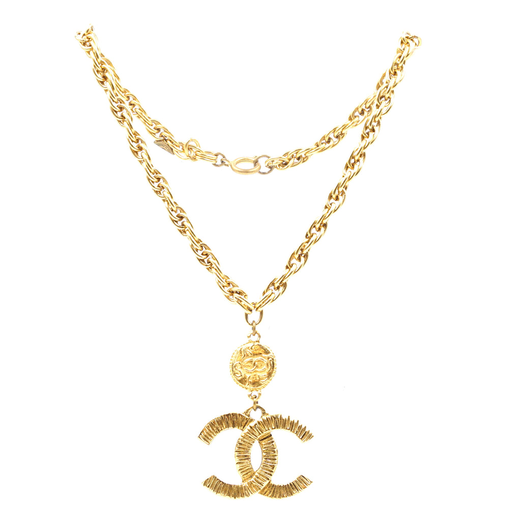 Chanel Gold CC Textured Chain Charm Necklace