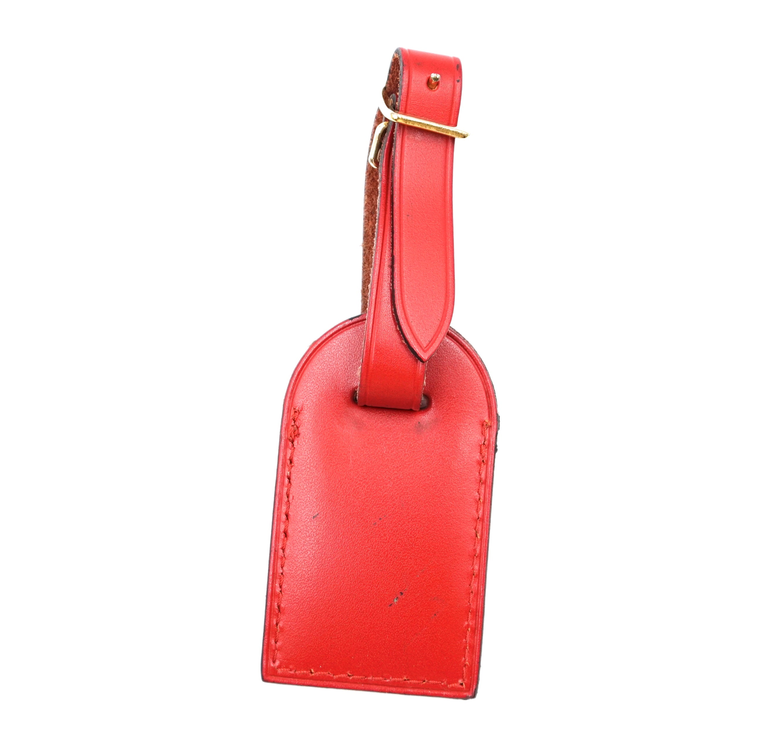 Louis Vuitton Red Small Smooth Calf Leather Luggage Tag