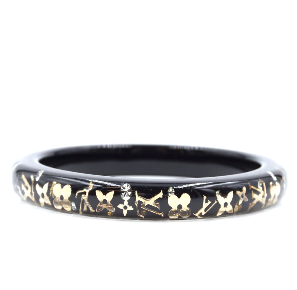 Louis Vuitton Gold Black Monogram Inclusion Flowers Bangle