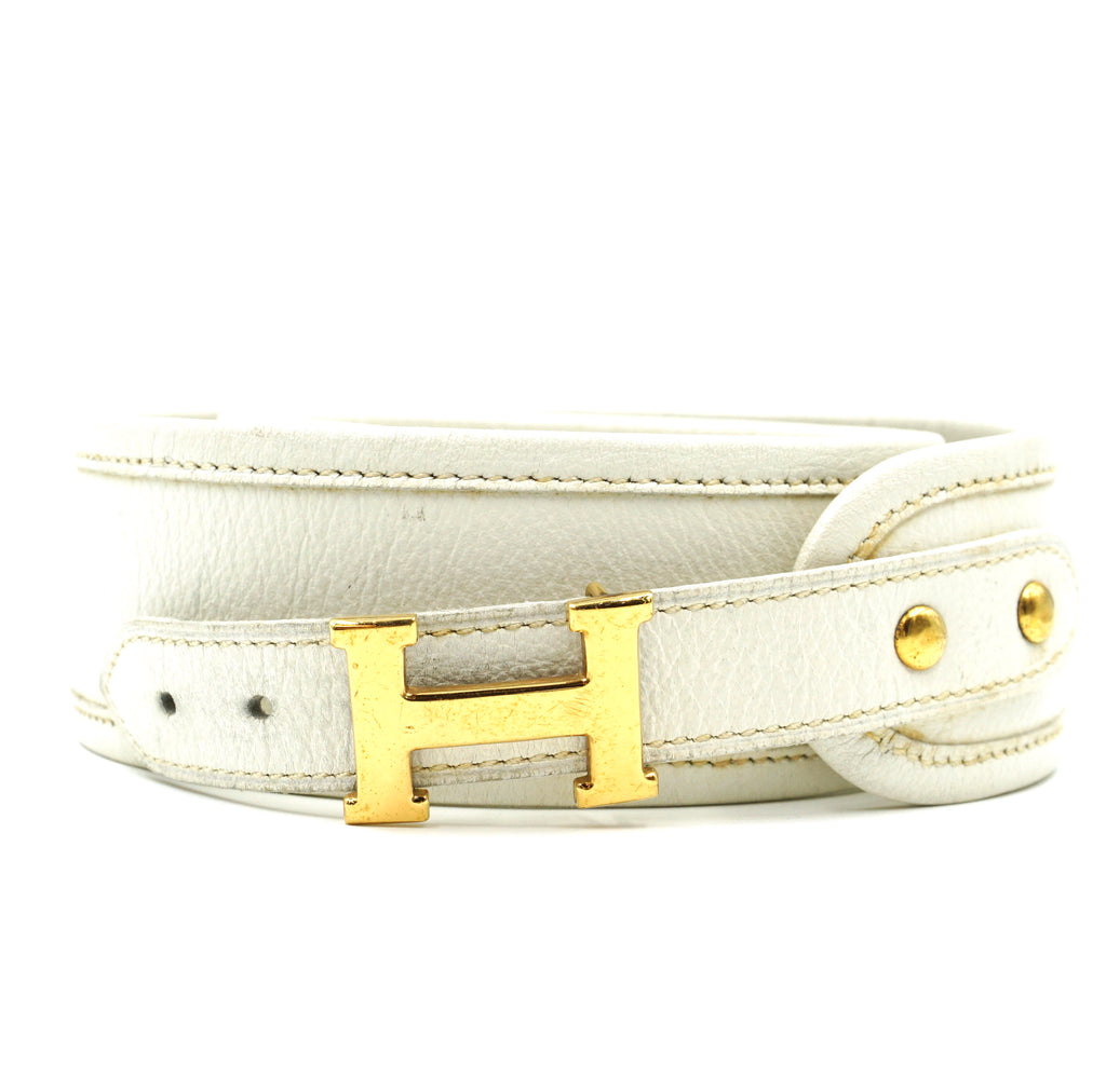 Hermès Gold H Vintage Graduated Leather Belt Size 75