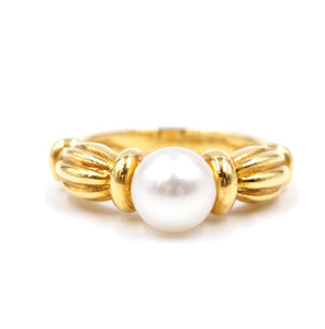 Tiffany & Co. Yellow Gold 750 18k Pearl Size 6-6.25 Ring