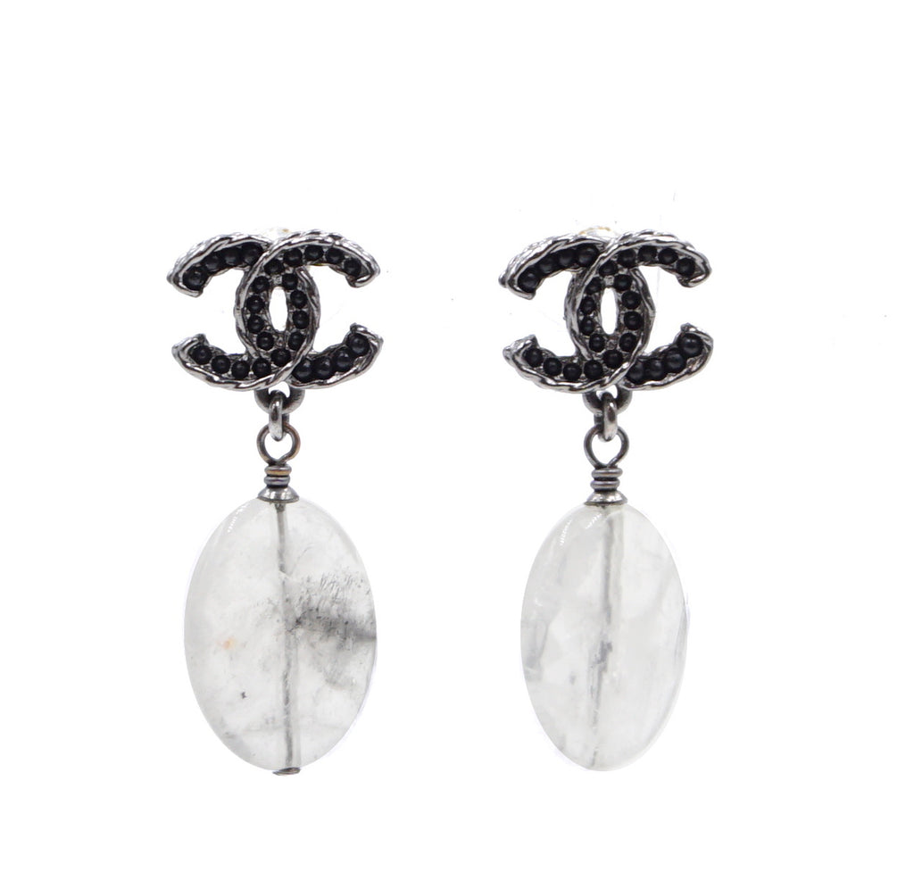 Chanel Black CC Beads Clear Marble Earrings