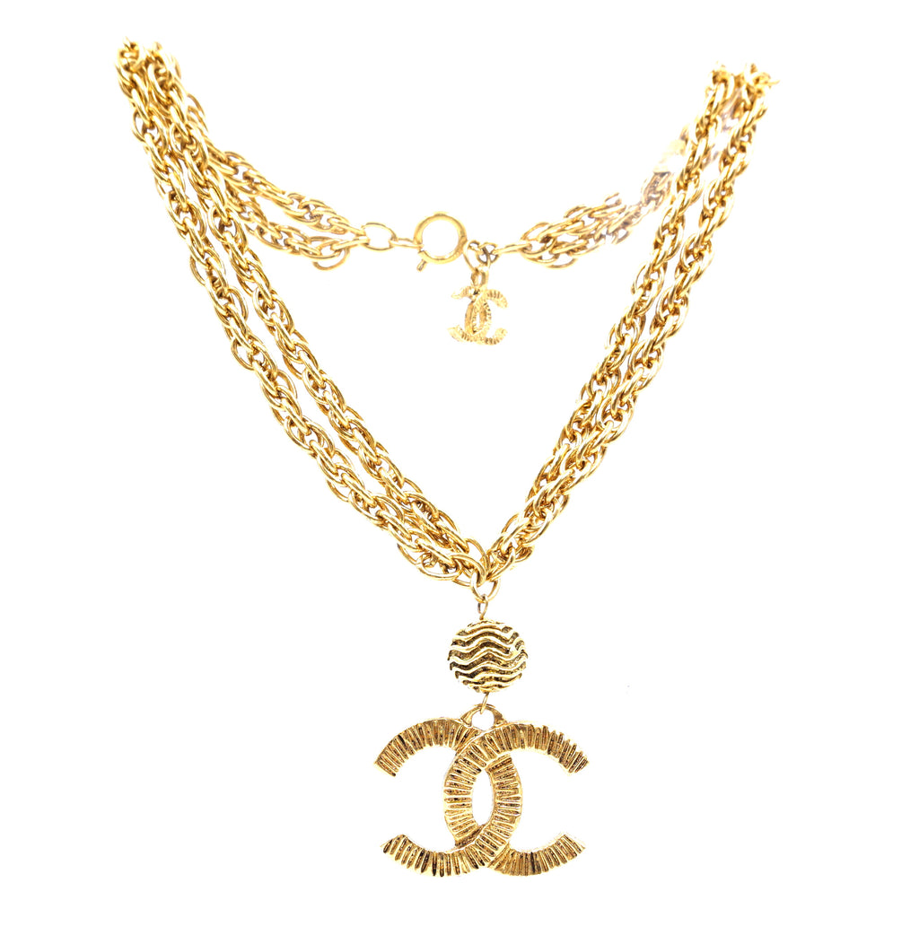 Chanel Gold CC Textured Charm Necklace