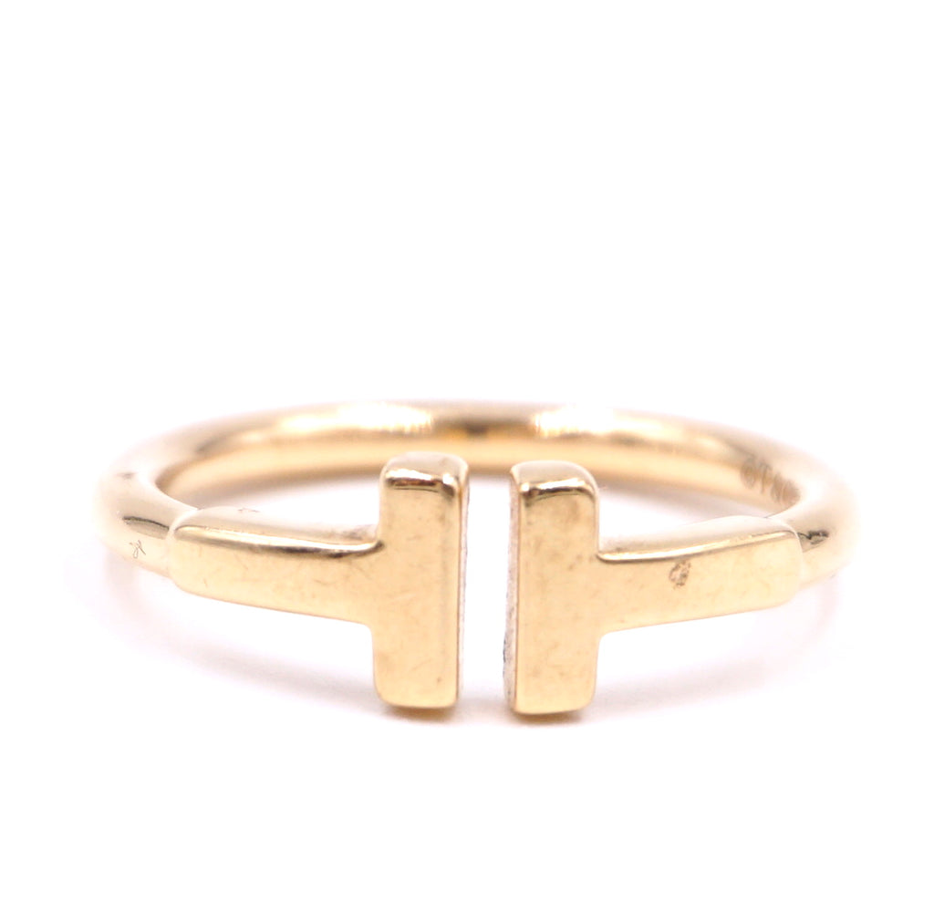 Tiffany & Co. 18k 750 Yellow Gold T Wire Size 4.25 Ring
