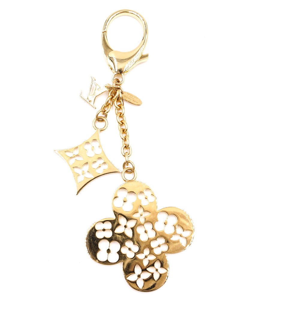 Louis Vuitton Gold Monogram Flowers Cutout Key Chain Charm