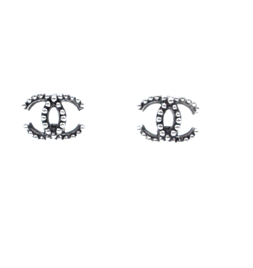 Chanel Silver CC Bead Stud Earrings