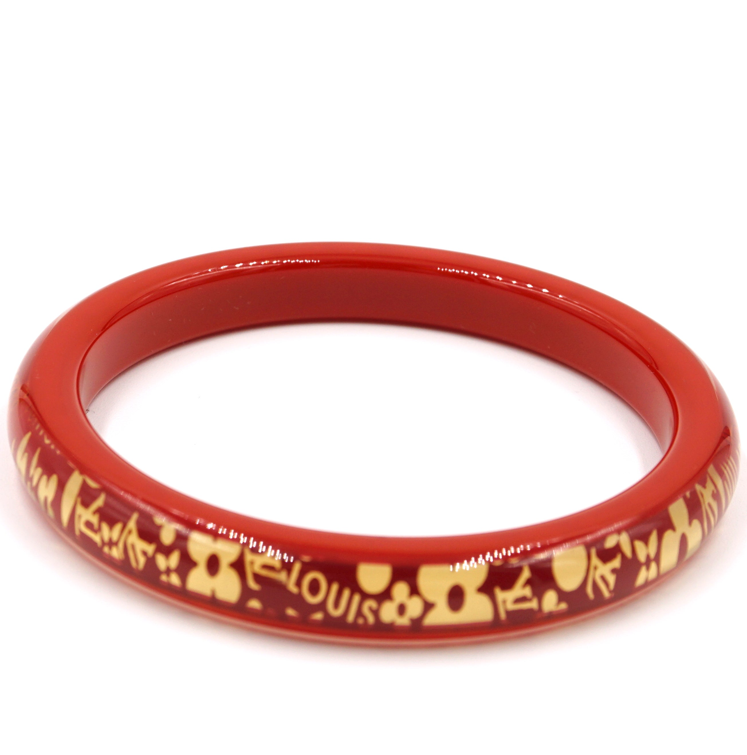 Louis Vuitton Gold Red Monogram Inclusion Flowers Bangle