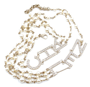 Chanel Gold CC Spelled Out Pearls Crystals Necklace