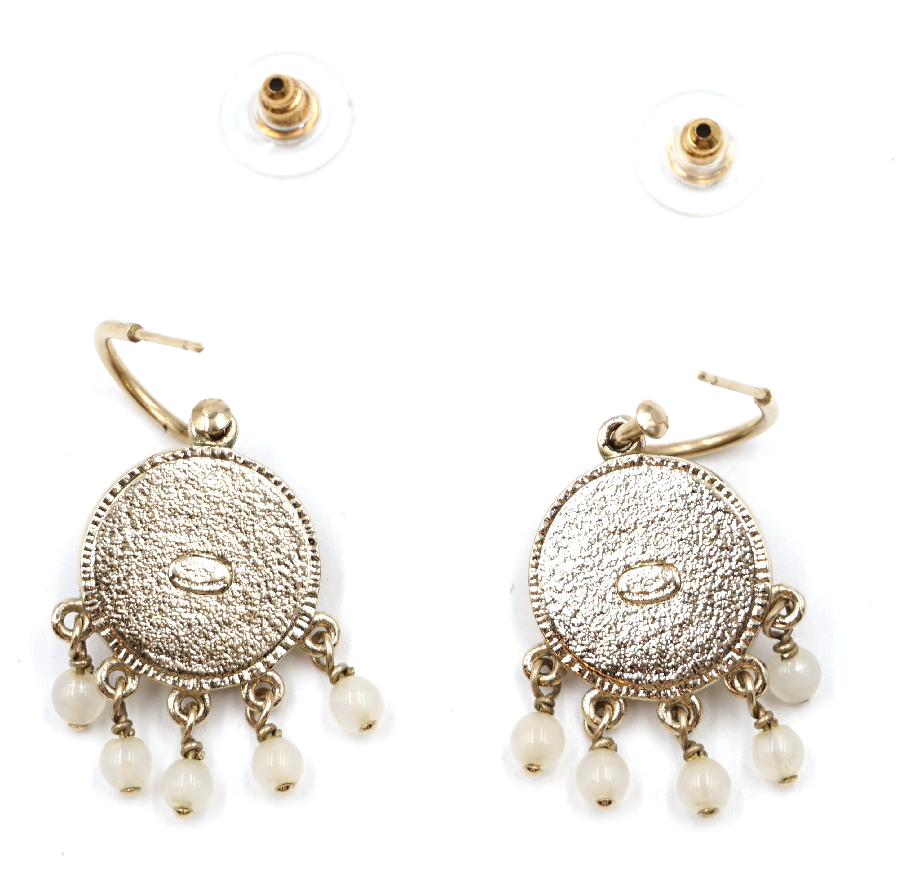 Chanel CC Dream Stones Dangle Pierced Earrings
