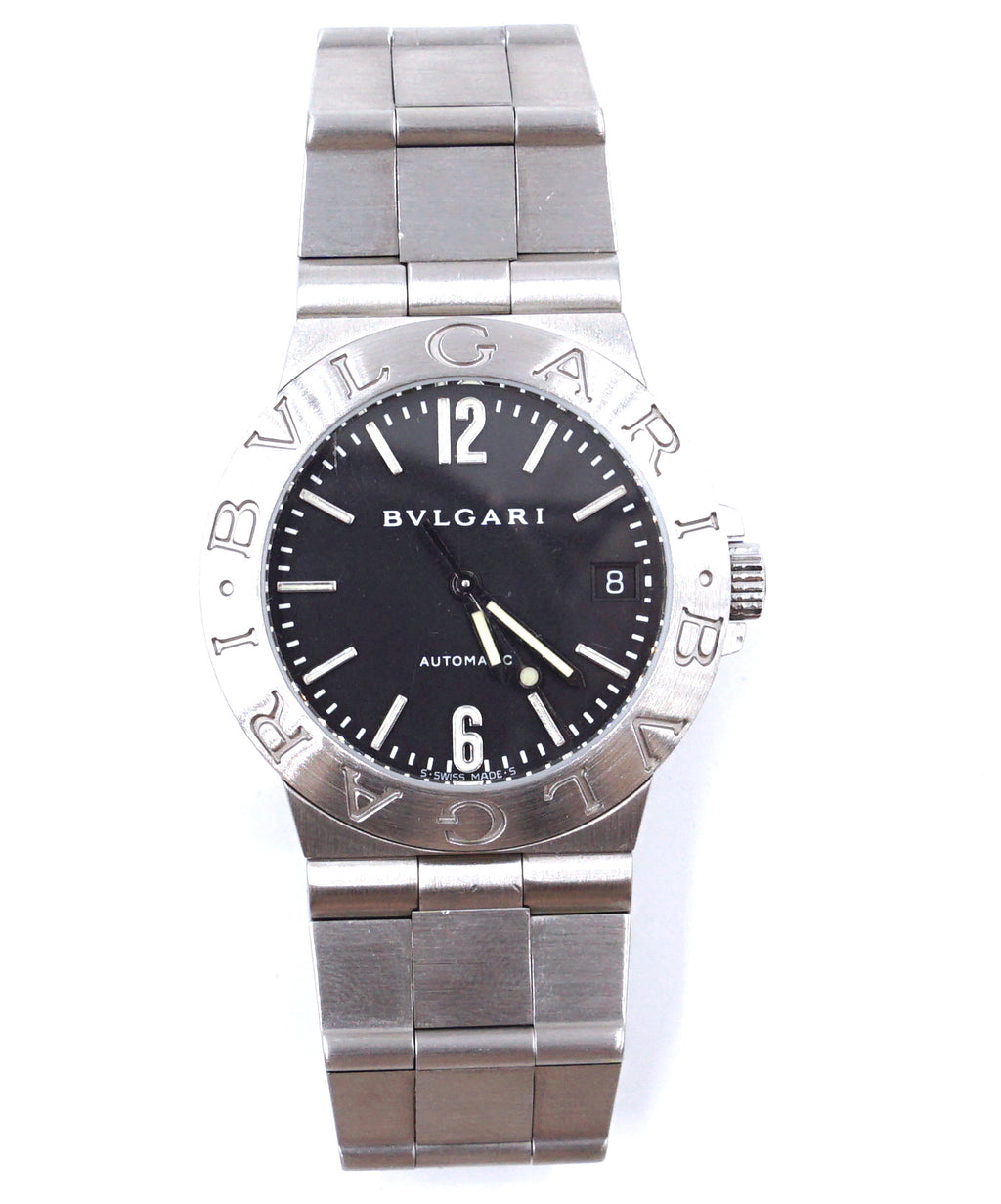 BVLGARI 35mm Silver Diagono Lcv Stainless Steel Black Dial Watch