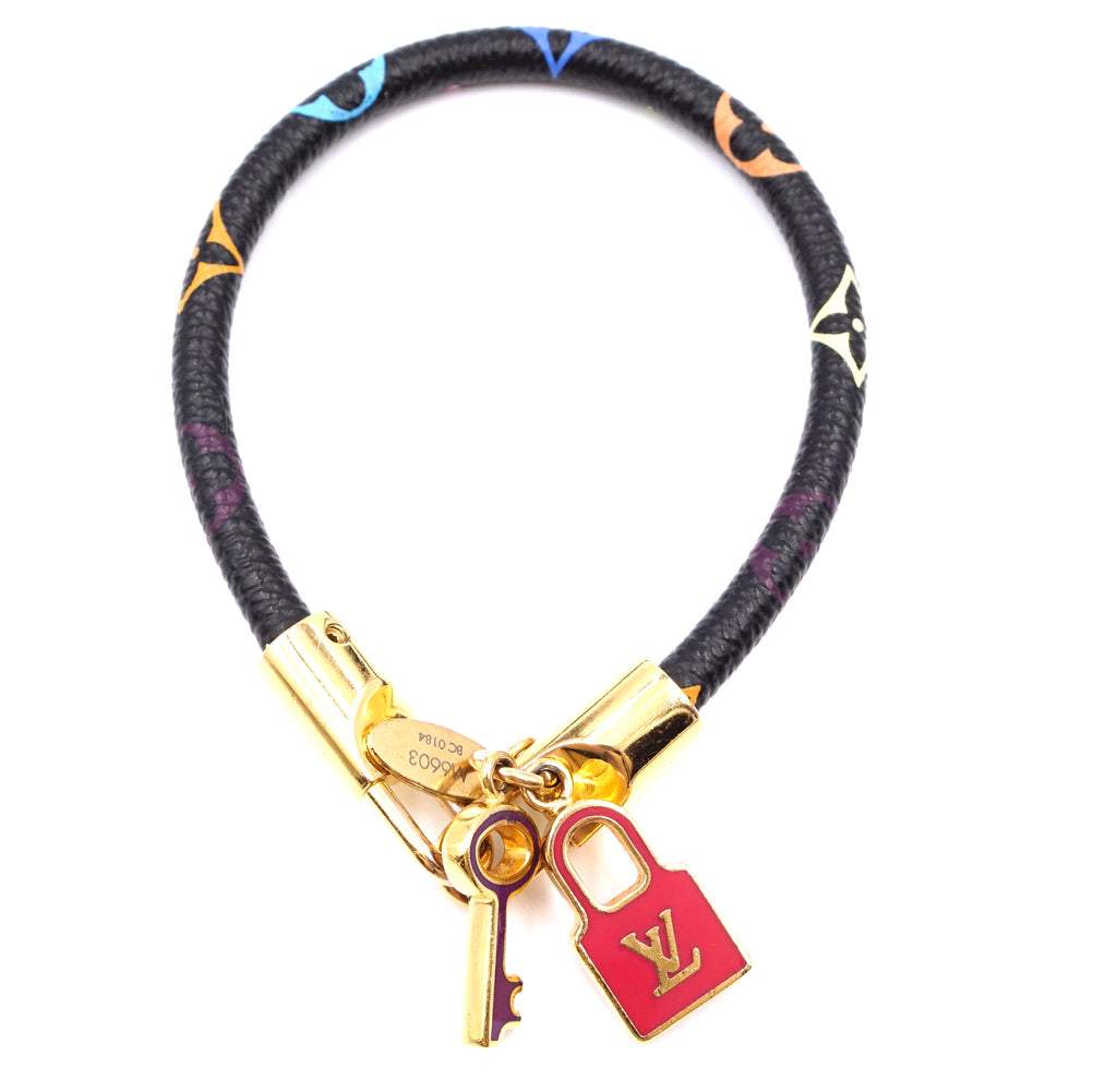 Louis Vuitton Black Multicolor Monogram Lock Key Charm Bracelet