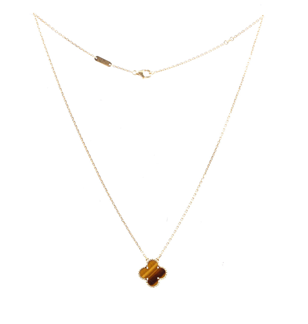Van Cleef & Arpels 18k 750 Tiger's Eye Vintage Alhambra Necklace