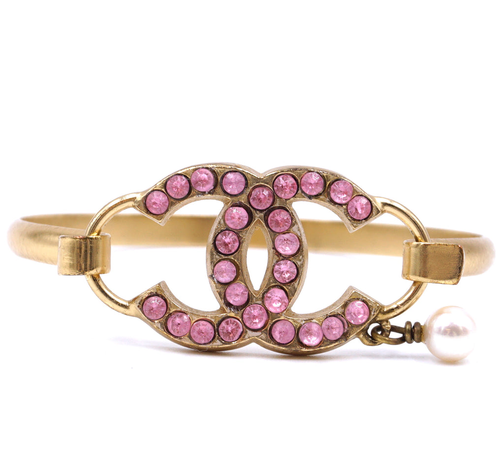Chanel Gold Pink CC Crystals with Pearl Bangle