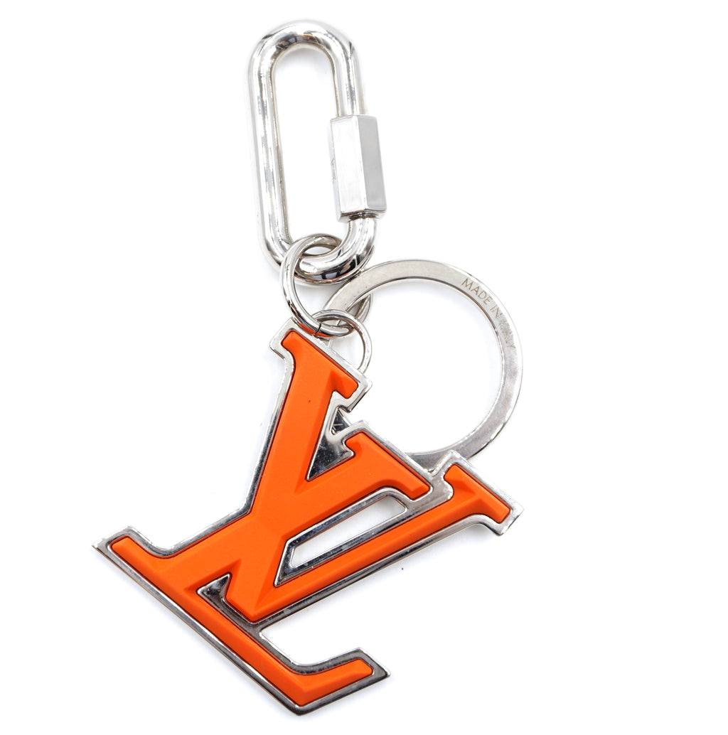 Louis Vuitton Orange Silver Signature LV Key Ring Charm