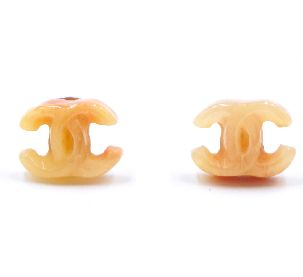Chanel Orange Peach CC Resin Pierced Stud Earrings