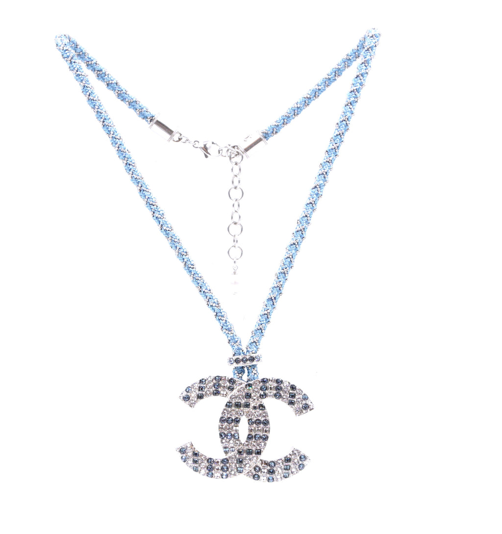 Chanel Blue Silver CC Crystal Chain Rope Necklace