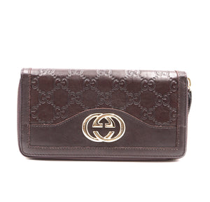 Gucci Brown Sukey GG Leather Zippy Around Long Wallet