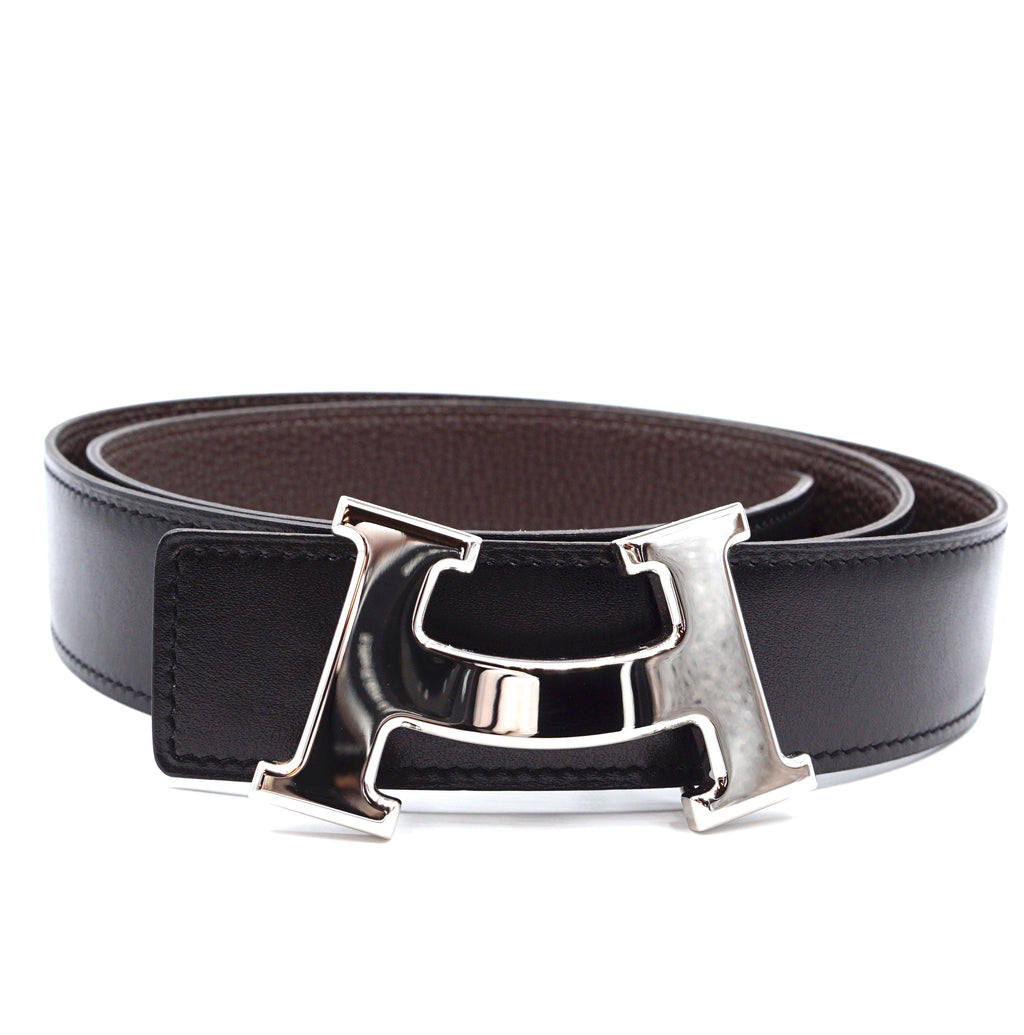 Hermès 32mm Smile H Silver Size 95 Reversible Leather Belt