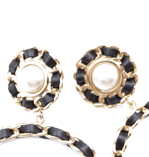 Chanel Gold Black CC Pearl Leather Dangle Clip On Earrings