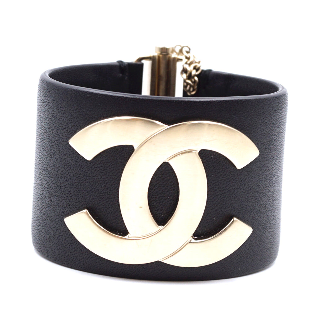 Chanel Gold Black Leather Wide CC Glide Lock Cuff