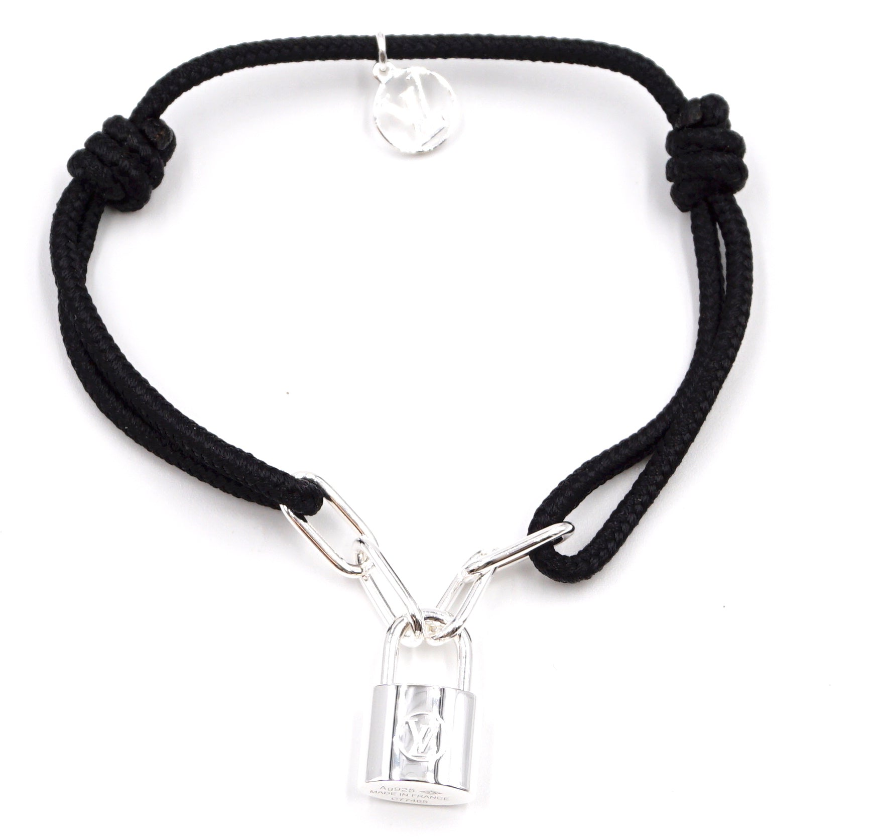 Louis Vuitton Silver 925 Lock Charm Black Bracelet