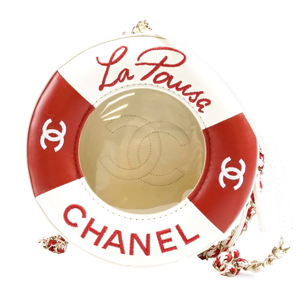 Chanel  Coco Round Lifesaver Red White Lambskin Leather