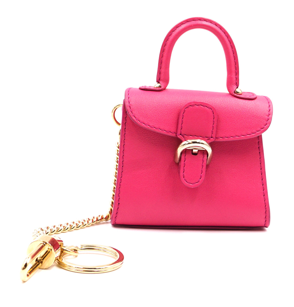 Delvaux Super Mini Brillant Charm Holder Pink Leather