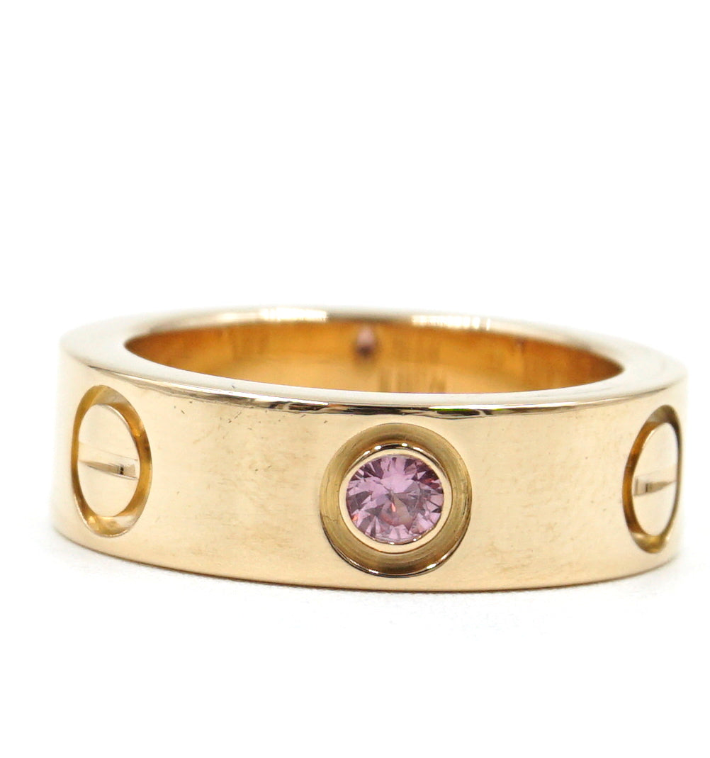 Cartier Rose Gold 18k Sapphire 1P Love Ring Size 44