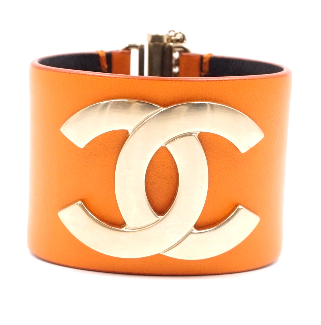 Chanel Gold Orange Leather  Wide CC Glide Lock Bracelet
