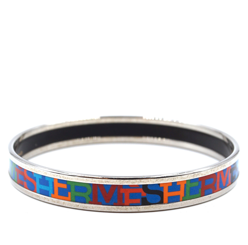 Hermès Spelled Out Silver Multicolor Enamel Plated Skinny Bangle