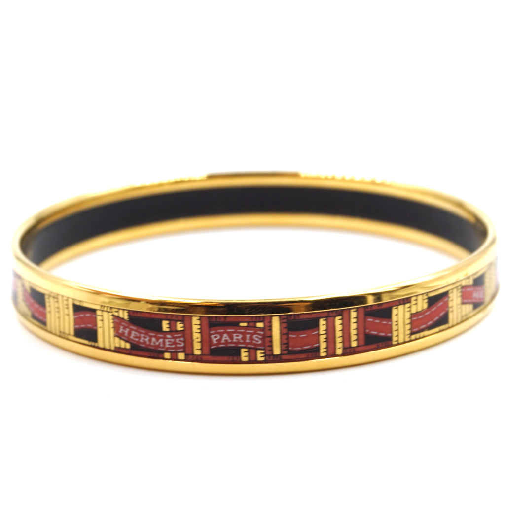 Hermès Multicolor Logo Enamel Plated Skinny Gold Bangle