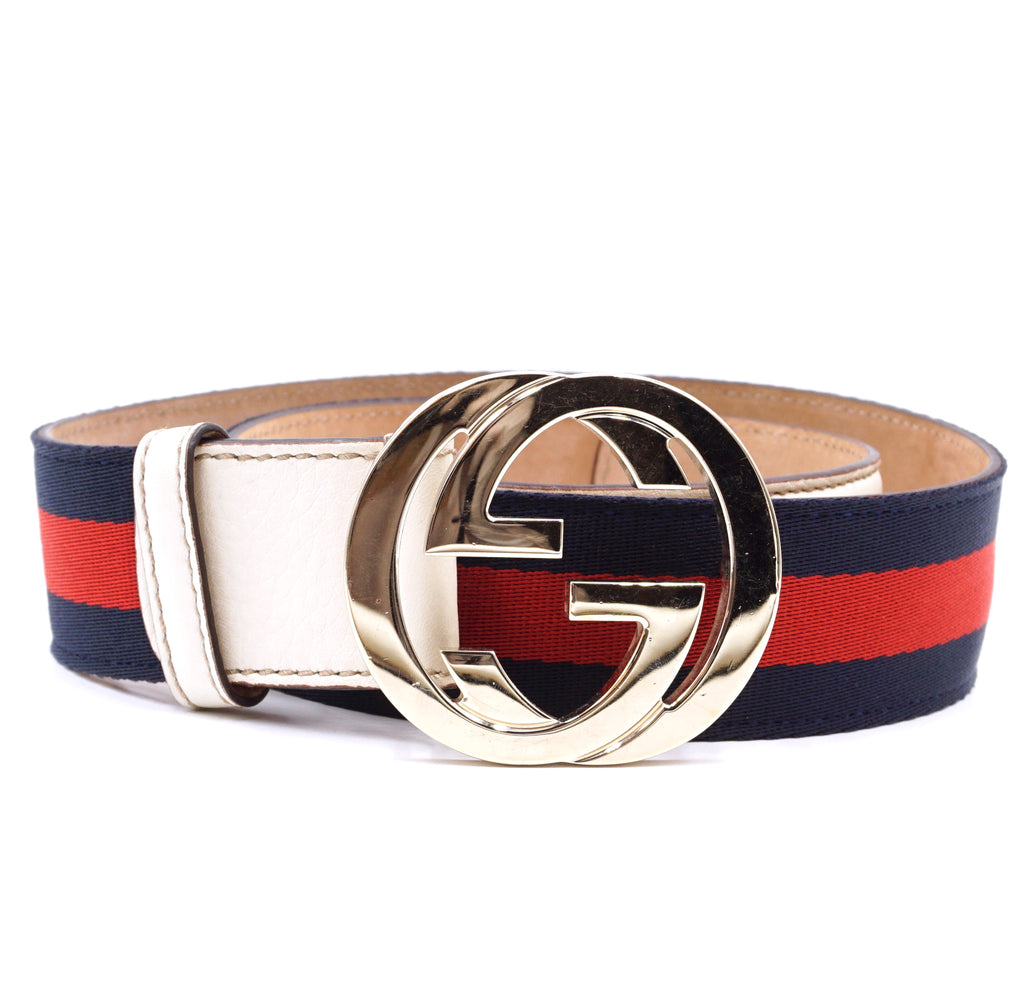 Gucci Red Navy GG Stripe Gold Buckle Leather Belt Size 80/32